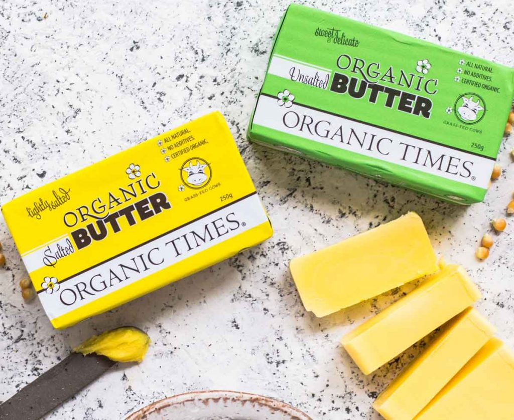 250g packets of Organic Times Salted and Unsalted Butter