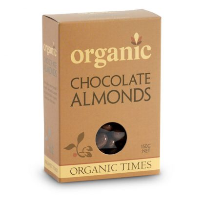A 150 gram box of Organic Times Milk Chocolate Almonds