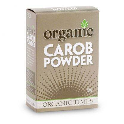 A 200 gram box of Organic Times Carob Powder