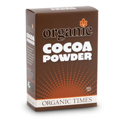 A 200 gram box of Organic Times Dutch-Process Cocoa Powder