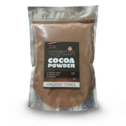 A 500 gram bag of Organic Times Dutch-Processed Cocoa Powder