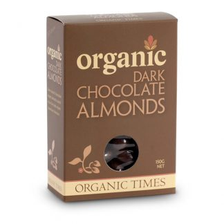 A 150 gram box of Organic Times Dark Chocolate Almonds