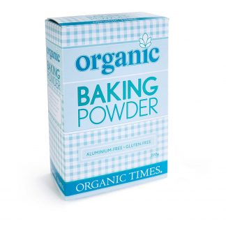 A 200 gram box of Organic Times Baking Powder