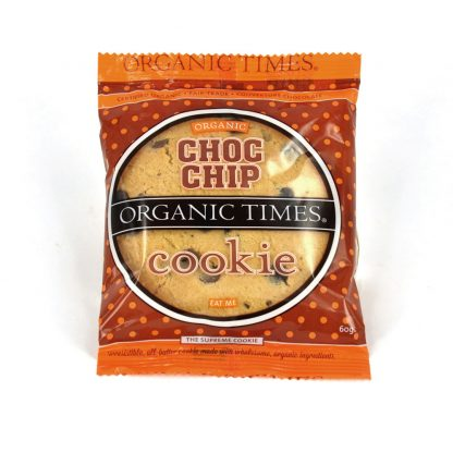 A 60 gram Organic Times Choc Chip Cookie