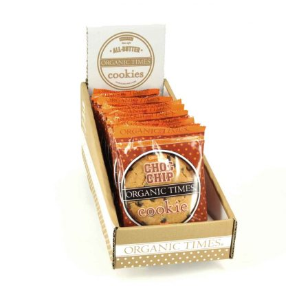 A box of 16 x 60 gram Organic Times Choc Chip Cookies