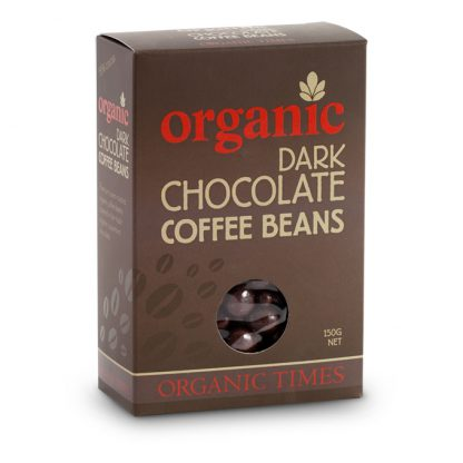 A 150 gram box of Organic Times Dark Chocolate Coffee Beans