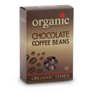 A 150 gram box of Organic Times Milk Chocolate Coffee Beans