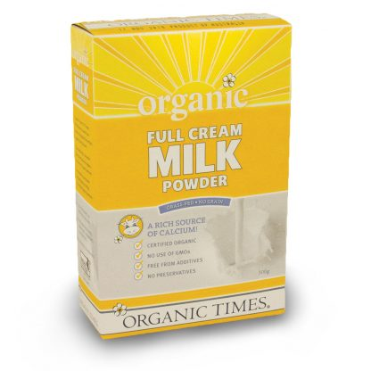 300 gram box of Organic Times Full Cream Milk Powder