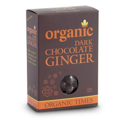 A 150 gram box of Organic Times Dark Chocolate Ginger