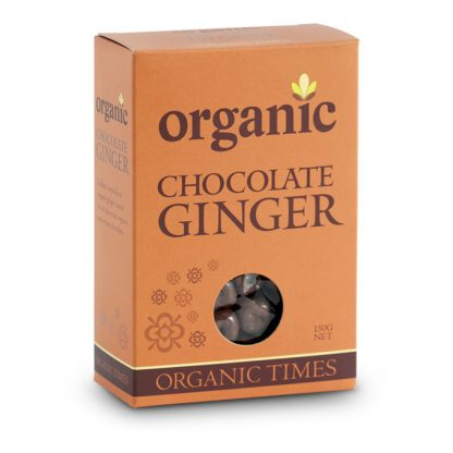 A 150 gram box of Organic Times Milk Chocolate Ginger