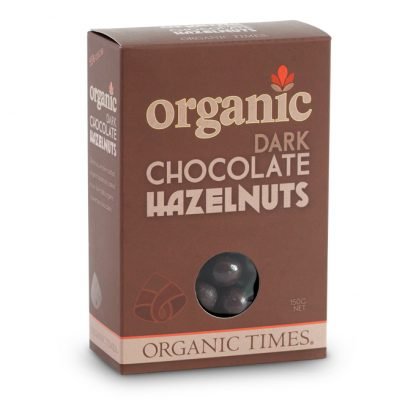 A 150 gram box of Organic Times Dark Chocolate Hazelnuts