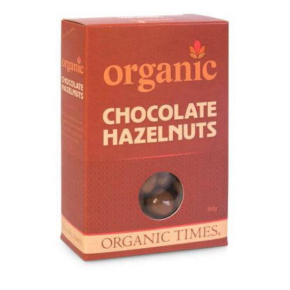 A 150 gram box of Organic Times Milk Chocolate Hazelnuts