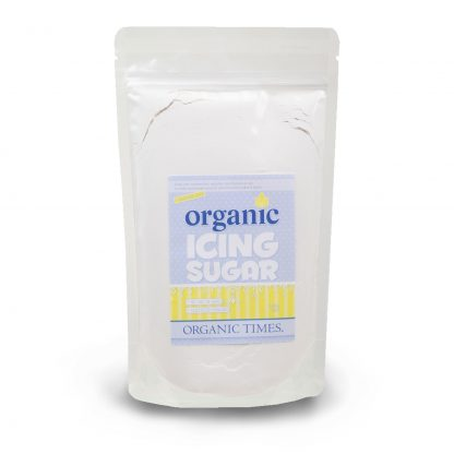 A 500 gram bag of Organic Times Icing Sugar