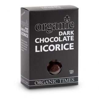A 150 gram box of Organic Times Dark Chocolate Licorice