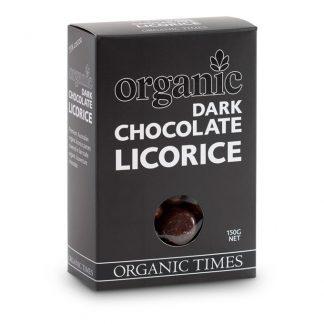 A 150 gram box of Organic Times Dark Chocolate Licorice
