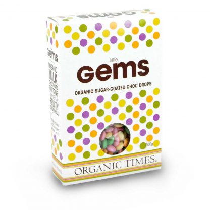 200 gram box of Organic Times Little Gems chocolates