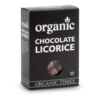 A 150 gram box of Organic Times Milk Chocolate Licorice