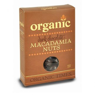 A 150 gram box of Organic Times Dark Chocolate Macadamias