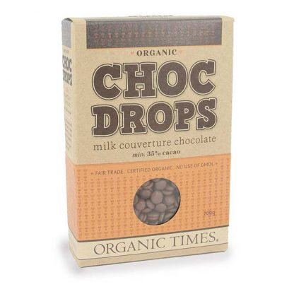 A 200 gram box of Organic Times Milk Chocolate Drops