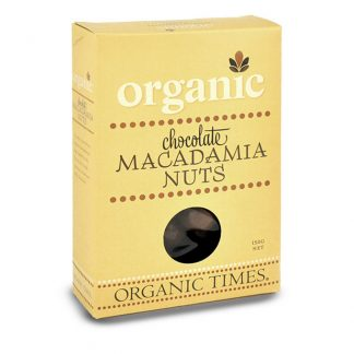 A 150 gram box of Organic Times Milk Chocolate Macadamias