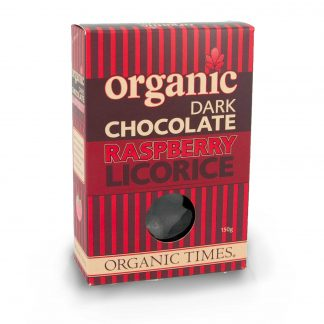 A 150 gram box of Organic Times Dark Chocolate Raspberry Licorice