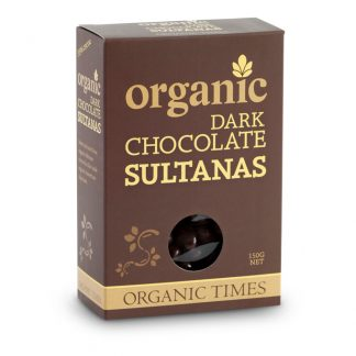 A 150 gram box of Organic Times Dark Chocolate Sultanas