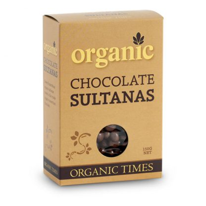 A 150 gram box of Organic Times Milk Chocolate Sultanas