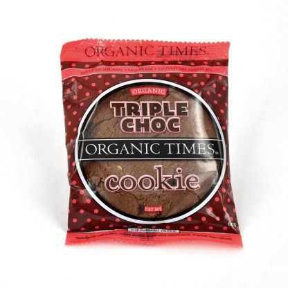 A 60 gram Organic Times Triple Chocolate Cookie