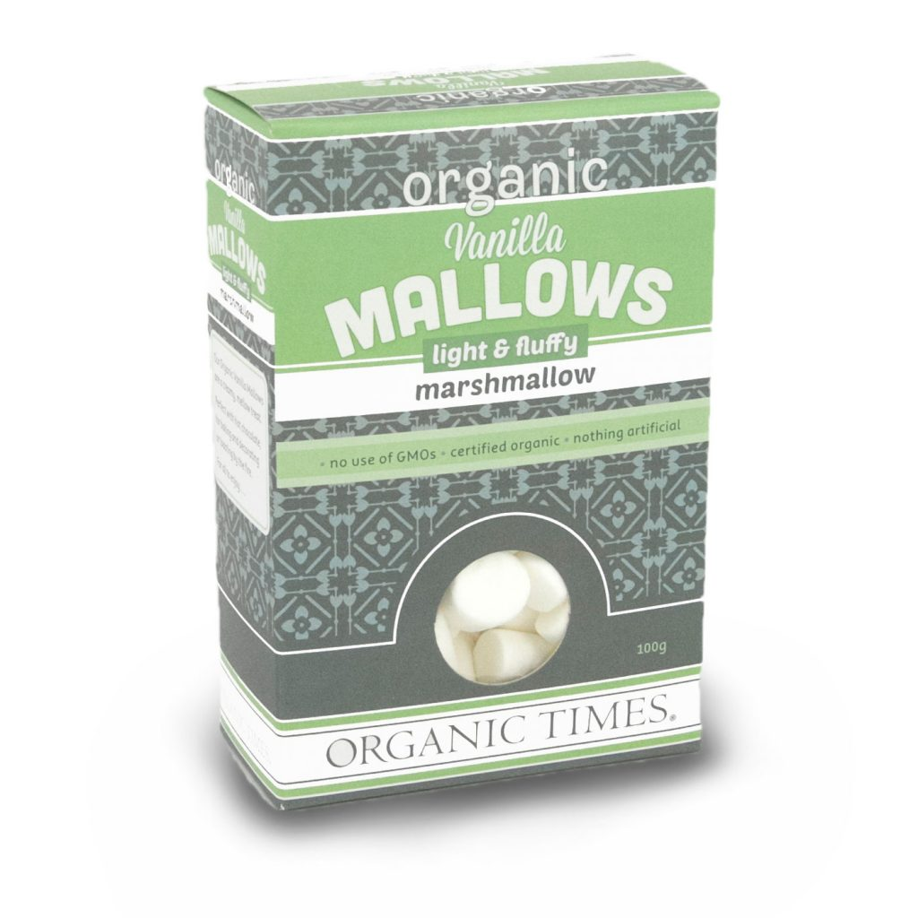 100 gram box of Organic Times Vanilla Marshmallows