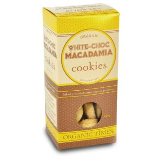 A 150 gram box of Organic Times White Chocolate Macadamia Cookies