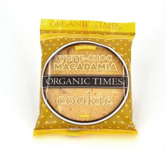 A 60 gram Organic Times White Chocolate Macadamia Cookie