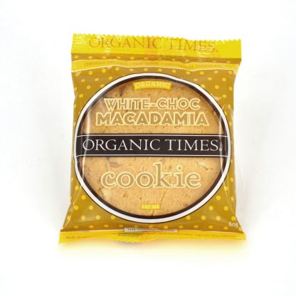 A 60 gram Organic Times White Chocolate Macadamia Cookie