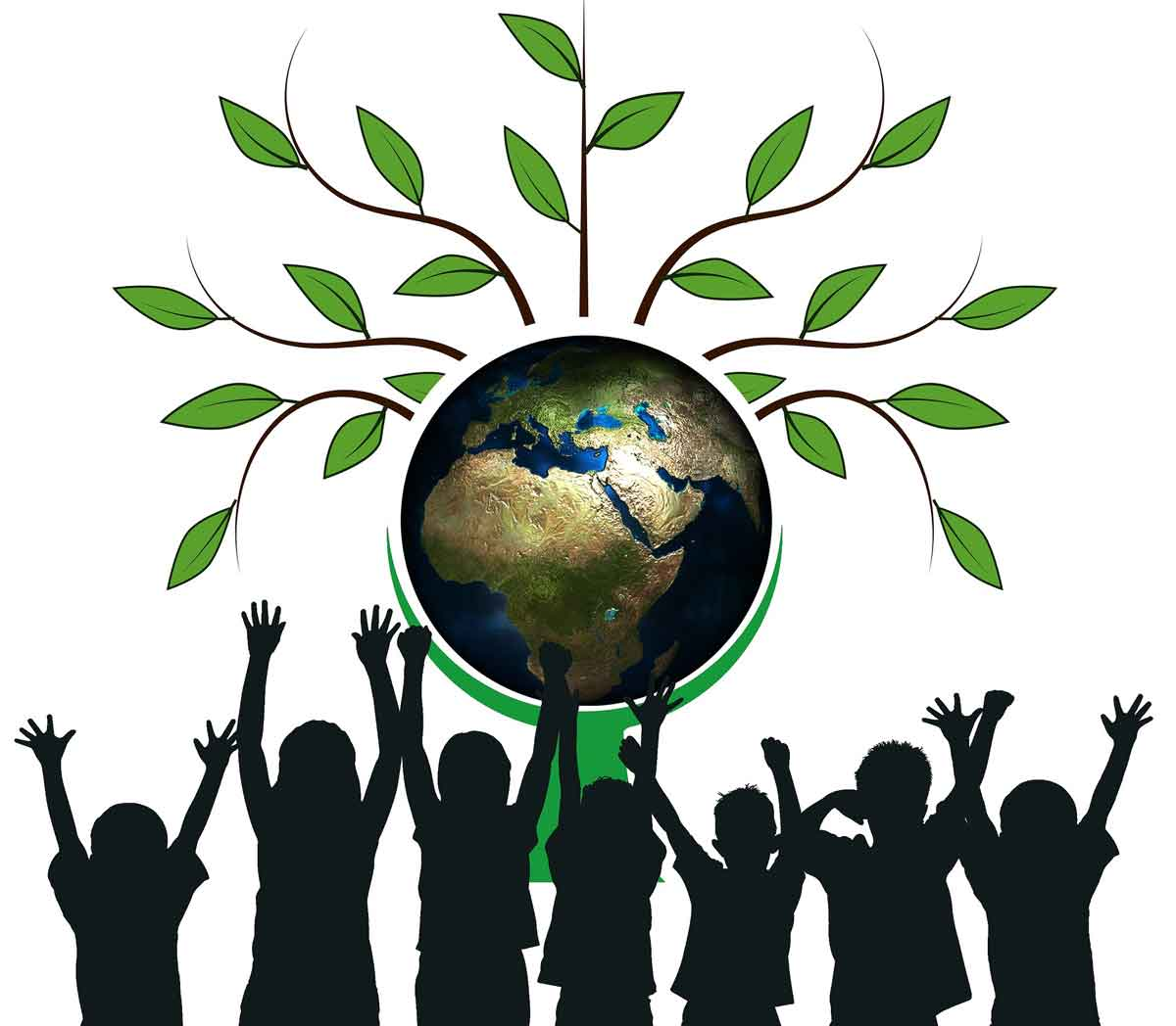 Children with our planet Earth