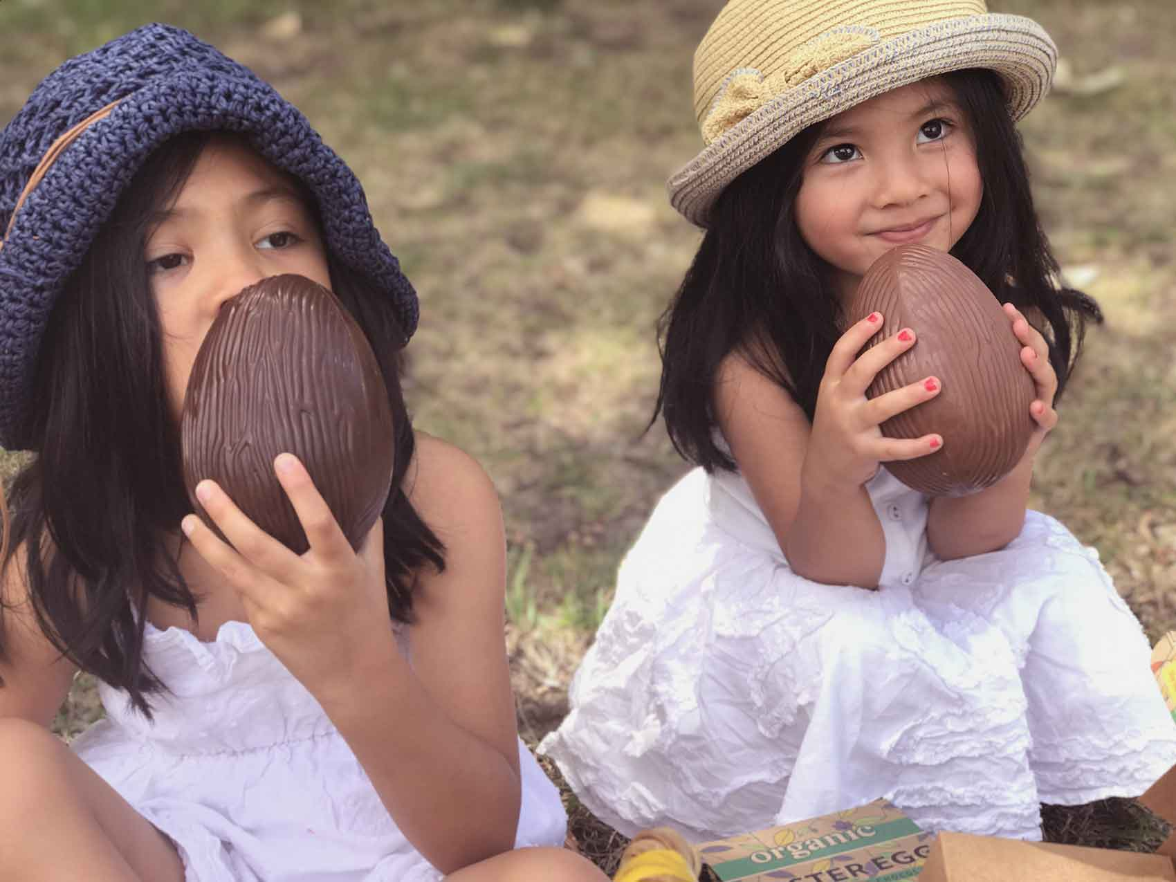Children Eating Organic Times Easter Eggs