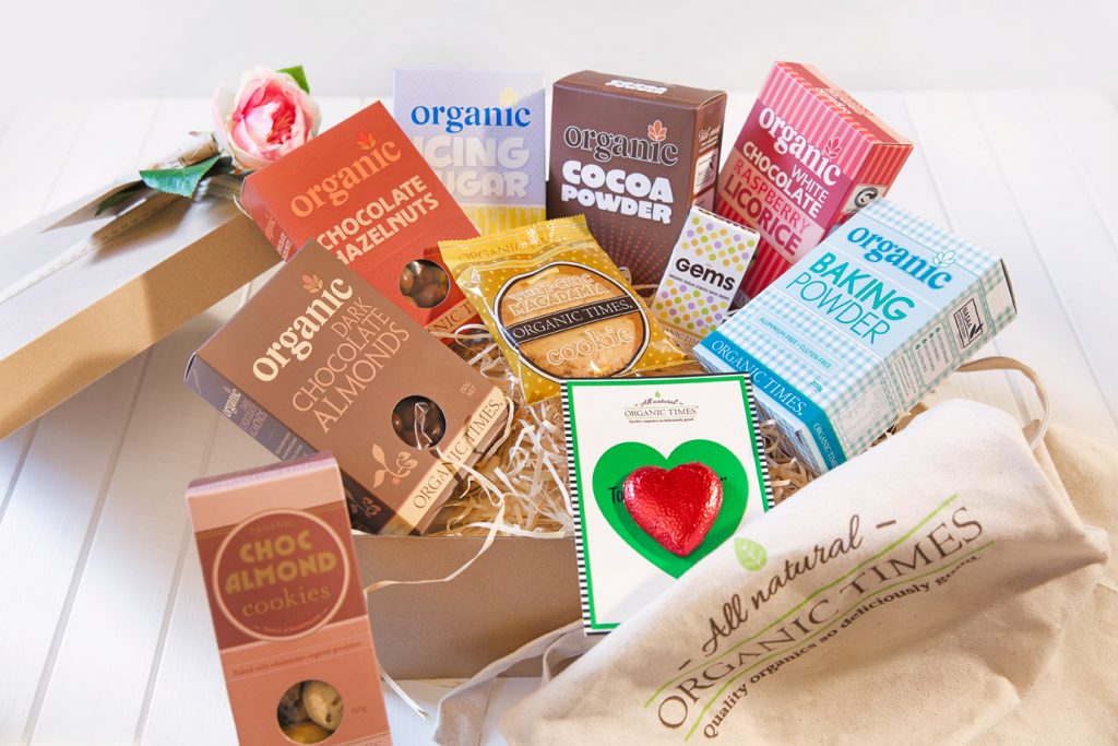 A Mother's Day hamper box full of Organic Times' products.
