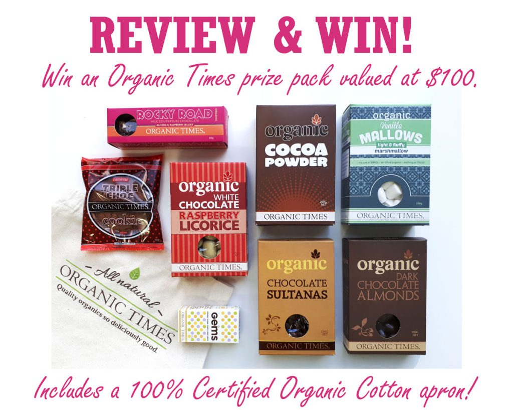Prize pack full of Organic Times products and apron