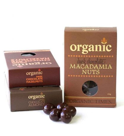 A collection of Organic Times Dark Chocolate coated nuts