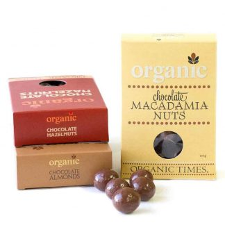 A collection of Organic Times Milk Chocolate coated nuts