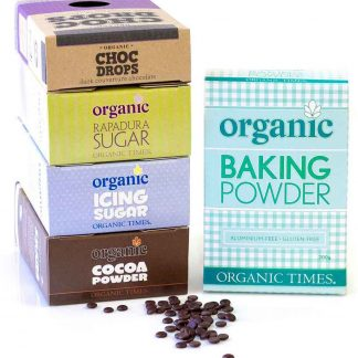 A collection of Organic Times baking ingredients