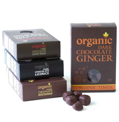 A collection of Organic Times Dark Chocolate coated products