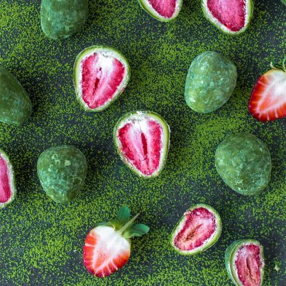 Organic Times Matcha and White Chocolate Coated Strawberries