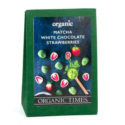 A 100 gram box of Organic Times Matcha and White Chocolate Coated Strawberries