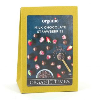 A 100 gram box of Organic Times Milk Chocolate Strawberries