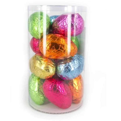A tub of Organic Times 70 gram Easter Eggs.