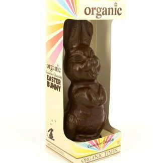 A 200 gram Organic Times Dark Chocolate Easter Bunny