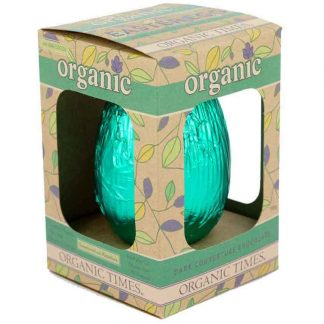 A 130 gram Organic Times Dark Chocolate Easter Egg box.