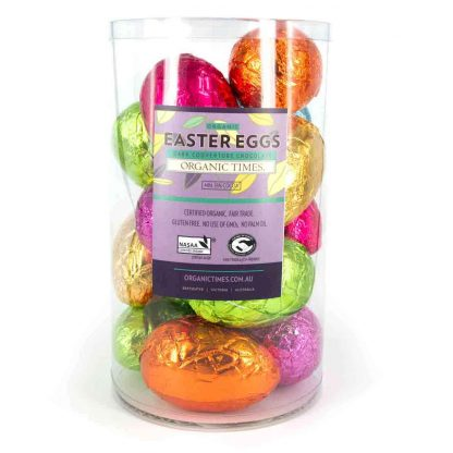 A tub of Organic Times 70 gram Dark Chocolate Easter Eggs.