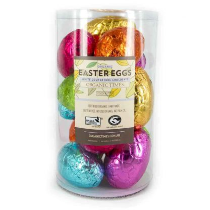 A tub of Organic Times 70 gram White Chocolate Easter Eggs.