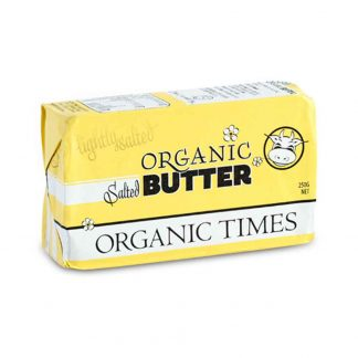 A 250 gram packet of Organic Times Salted Butter