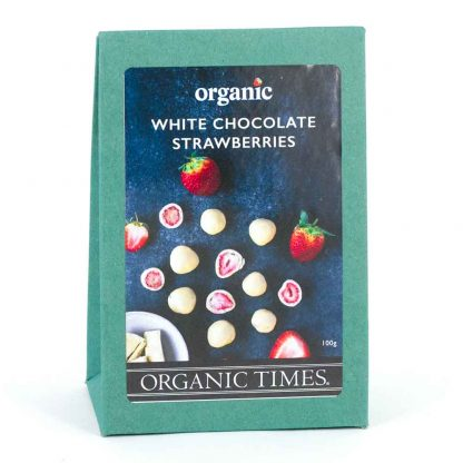 A 100 gram box of Organic Times White Chocolate Coated Strawberries